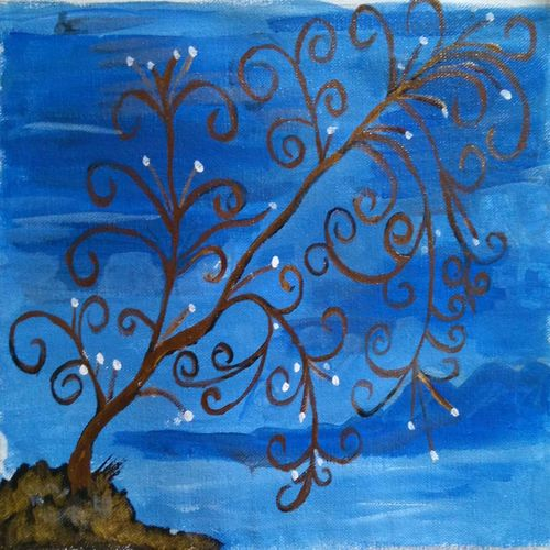 the tree in blue, 13 x 10 inch, abhik mahanti,paintings,abstract paintings,paintings for living room,canvas,acrylic color,13x10inch,GAL040449759