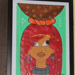 rajasthani bindni, 15 x 20 inch, naina singh,paintings,folk art paintings,paintings for bedroom,thick paper,acrylic color,15x20inch,GAL042669767