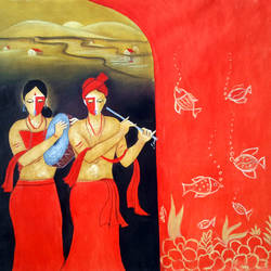 musical couple, 30 x 30 inch, chetan katigar,figurative paintings,religious paintings,paintings for living room,love paintings,canvas,oil,30x30inch,GAL0266977heart,family,caring,happiness,forever,happy,trust,passion,romance,sweet,kiss,love,hugs,warm,fun,kisses,joy,friendship,marriage,chocolate,husband,wife,forever,caring,couple,sweetheart