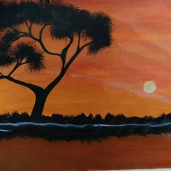 dusk, 8 x 12 inch, naina singh,paintings,landscape paintings,paintings for living room,paper,acrylic color,8x12inch,GAL042669770
