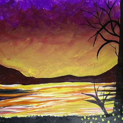 darker stage of twilight, 8 x 12 inch, naina singh,paintings,landscape paintings,paintings for living room,paper,acrylic color,8x12inch,GAL042669771