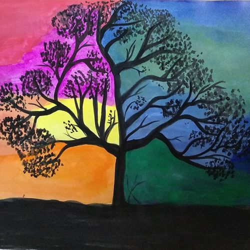 two shades of life, 8 x 12 inch, naina singh,paintings,landscape paintings,paintings for living room,paper,acrylic color,8x12inch,GAL042669773