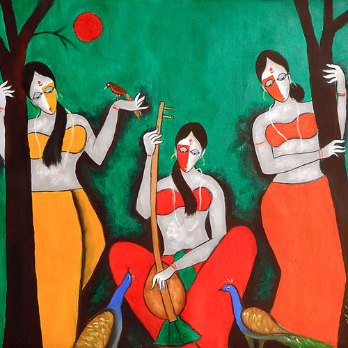 the musical day 2, 24 x 24 inch, chetan katigar,figurative paintings,paintings for living room,canvas,oil,24x24inch,GAL0266978