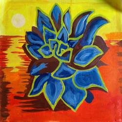 the flower of  sea, 16 x 16 inch, abhik mahanti,paintings,abstract paintings,paintings for living room,canvas,acrylic color,16x16inch,GAL040449786
