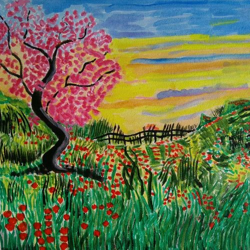 the colorful garden, 16 x 15 inch, abhik mahanti,paintings,flower paintings,paintings for living room,canvas,acrylic color,16x15inch,GAL040449787