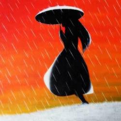 girl in rain, 20 x 26 inch, colorful art arts and crafts,figurative paintings,paintings for dining room,canvas,acrylic color,20x26inch,GAL0393979