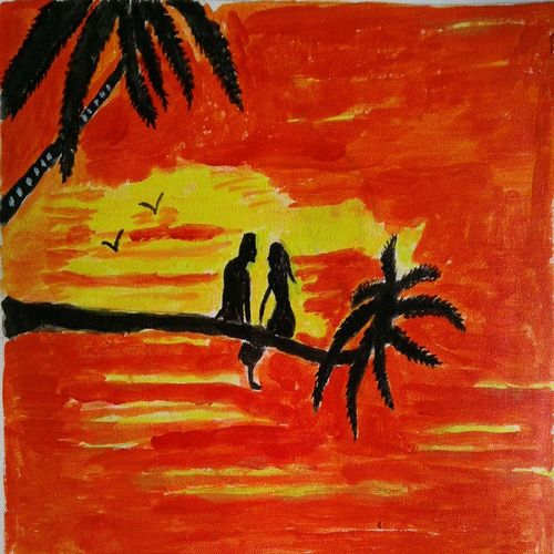 the couple, 16 x 12 inch, abhik mahanti,paintings,figurative paintings,paintings for bedroom,canvas,acrylic color,16x12inch,GAL040449790