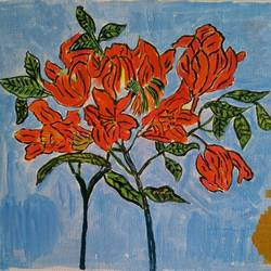 flowers from forest, 14 x 12 inch, abhik mahanti,paintings,flower paintings,canvas,acrylic color,14x12inch,GAL040449791