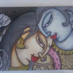 love for each other, 15 x 12 inch, kamta prasad sahu,paintings,figurative paintings,paintings for living room,cartridge paper,ball point pen,15x12inch,GAL042749793