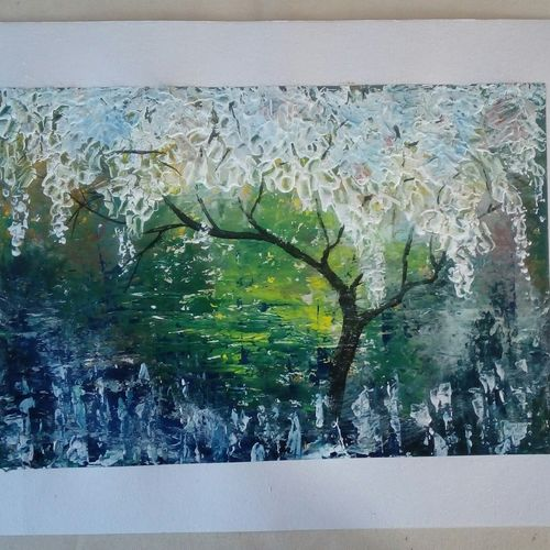 blossom tree, 15 x 12 inch, kamta prasad sahu,paintings,abstract paintings,paintings for living room,cartridge paper,mixed media,15x12inch,GAL042749794