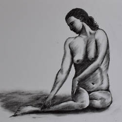 nude, 16 x 12 inch, saurabh jathar,paintings for living room,drawings,figurative drawings,canvas,oil,16x12inch,GAL039649798