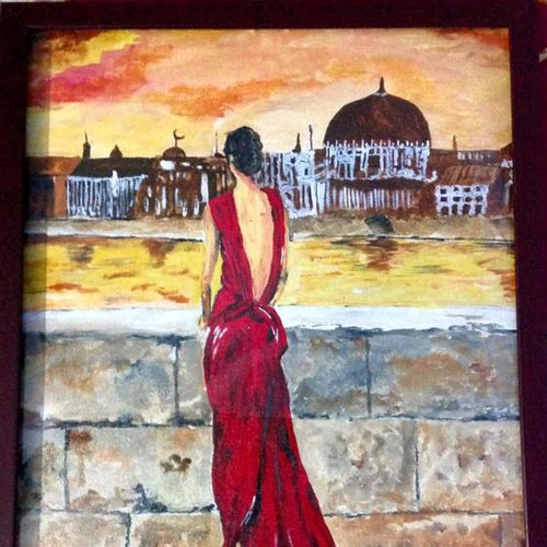 girl with a red dress , 15 x 20 inch, mamta singh,conceptual paintings,paintings for living room,canvas,acrylic color,15x20inch,GAL042429805