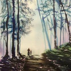 new horizon, 21 x 29 inch, dipankar  biswas,paintings,landscape paintings,paintings for bedroom,handmade paper,watercolor,21x29inch,GAL029329807