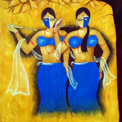sakhi 2, 21 x 27 inch, chetan katigar,religious paintings,paintings for living room,canvas,oil,21x27inch,GAL0266981