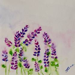 lavenders in the rain, 8 x 9 inch, esha lal,paintings,flower paintings,paintings for living room,renaissance watercolor paper,watercolor,8x9inch,GAL043259818