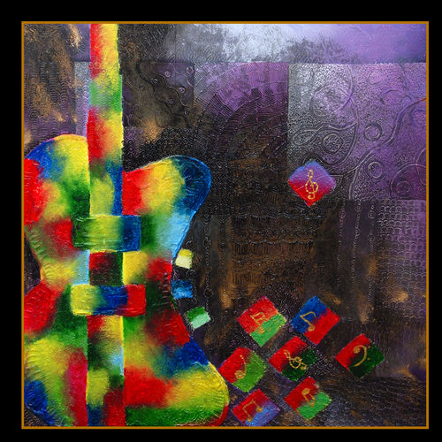 guitar, 90 x 90 inch, jenish kenon sankhedawala,paintings,abstract paintings,paintings for office,canvas board,oil,90x90inch,GAL042699827