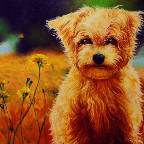 the kind soul, 36 x 24 inch, shalini gupta,wildlife paintings,paintings for living room,dog painting,animal paintings,canvas,oil,36x24inch,GAL012659828