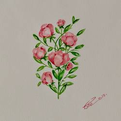 bunch of blushing blossoms, 8 x 8 inch, esha lal,paintings,flower paintings,paintings for bedroom,renaissance watercolor paper,watercolor,8x8inch,GAL043259829