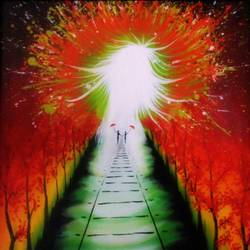 path to the light, 20 x 26 inch, colorful art arts and crafts,conceptual paintings,paintings for dining room,canvas,acrylic color,20x26inch,GAL0393984