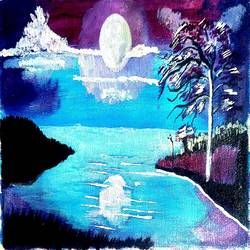 the moon sunset, 15 x 10 inch, abhik mahanti,paintings,landscape paintings,paintings for living room,canvas,acrylic color,15x10inch,GAL040449842