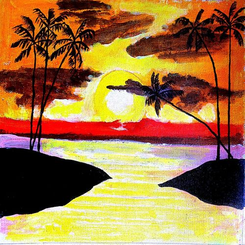 the palm sunset, 16 x 14 inch, abhik mahanti,paintings,landscape paintings,paintings for living room,canvas,acrylic color,16x14inch,GAL040449844
