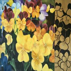 pansy, 30 x 20 inch, priyanka chander,paintings,flower paintings,paintings for living room,canvas,mixed media,30x20inch,GAL043419845