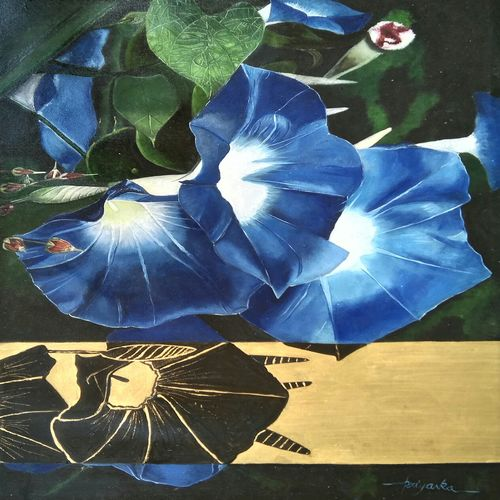morning glory, 20 x 30 inch, priyanka chander,paintings,flower paintings,paintings for living room,canvas,mixed media,20x30inch,GAL043419847