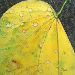 yellow leaf, 10 x 12 inch, priyanka chander,paintings for living room,wildlife paintings,nature paintings,canvas,oil,10x12inch,GAL043419850Nature,environment,Beauty,scenery,greenery