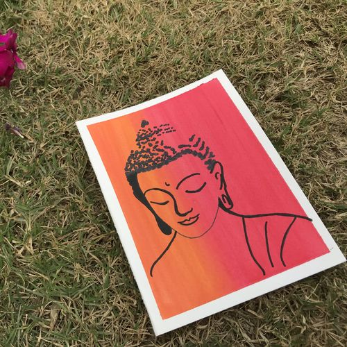 tranquility and lord buddha , 5 x 6 inch, mahak agrawal,paintings,buddha paintings,paintings for living room,renaissance watercolor paper,mixed media,5x6inch,GAL043479860