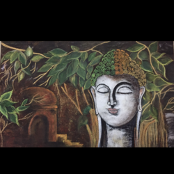 lord buddha , 17 x 24 inch, mahak agrawal,paintings,buddha paintings,canvas,mixed media,17x24inch,religious,peace,meditation,meditating,gautam,goutam,buddha,forest,leafs,face,praying,GAL043479868
