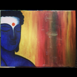 lord buddha , 12 x 17 inch, mahak agrawal,paintings,buddha paintings,paintings for living room,canvas,mixed media,12x17inch,religious,peace,meditation,meditating,gautam,goutam,buddha,blue,yellow,orange,GAL043479869