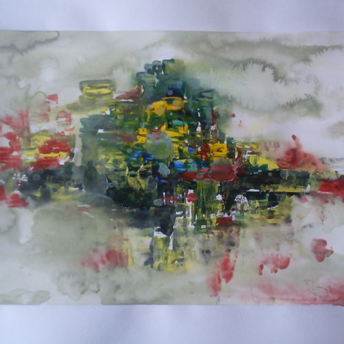 mountain, 15 x 12 inch, kamta prasad sahu,abstract paintings,paintings for living room,cartridge paper,watercolor,15x12inch,GAL042749870