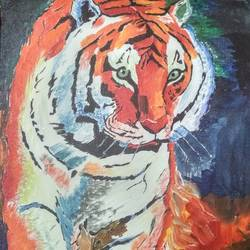 tiger.... on fire, 20 x 16 inch, shephali singh,animal paintings,paintings for living room,canvas board,acrylic color,20x16inch,GAL043179872