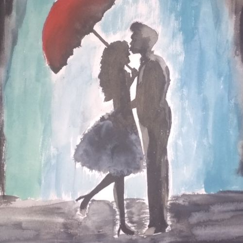 love in the air-2, 12 x 10 inch, shephali singh,paintings,impressionist paintings,paintings for bedroom,thick paper,poster color,12x10inch,GAL043179876