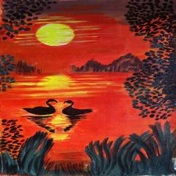 the duck sunset, 10 x 16 inch, abhik mahanti,paintings,landscape paintings,paintings for living room,canvas,acrylic color,10x16inch,GAL040449880