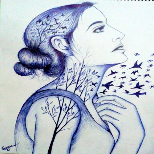 flying birds, 12 x 16 inch, surya  das,drawings,modern drawings,paintings for living room,drawing paper,ball point pen,12x16inch,GAL029619887