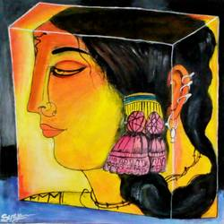 girl, 18 x 22 inch, surya  das,paintings,modern art paintings,paintings for living room,cloth,acrylic color,18x22inch,GAL029619888