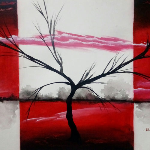 a tree, 22 x 15 inch, kiran s,paintings,nature paintings,paintings for office,hardboard,acrylic color,22x15inch,GAL043569889Nature,environment,Beauty,scenery,greenery