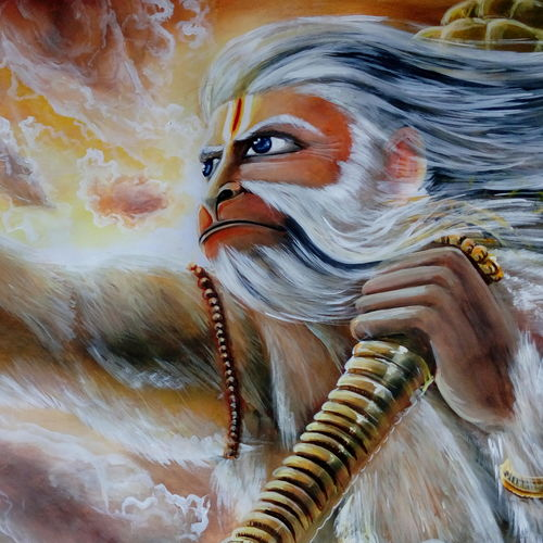 lord hanuman, 23 x 15 inch, kiran s,paintings,religious paintings,paintings for living room,hardboard,acrylic color,23x15inch,GAL043569893