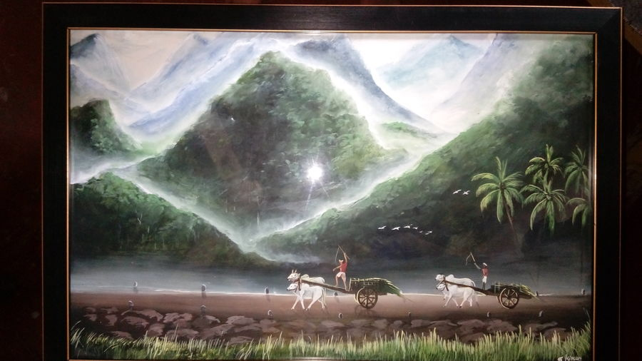 indian village, 23 x 15 inch, kiran s,paintings,nature paintings,paintings for living room,hardboard,acrylic color,23x15inch,GAL043569894Nature,environment,Beauty,scenery,greenery
