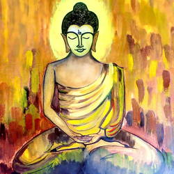 buddha in meditation , 9 x 10 inch, seema agrawal,paintings,buddha paintings,paintings for living room,cartridge paper,watercolor,9x10inch,religious,peace,meditation,meditating,gautam,goutam,buddha,yellow,orange,mudra,GAL018599903