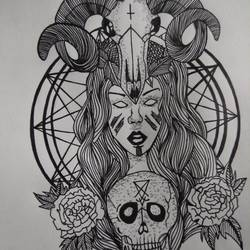 mysterious occult woman, 7 x 10 inch, zini sia,drawings,conceptual drawings,paintings for living room,drawing paper,ball point pen,7x10inch,GAL043589904