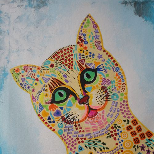 the greedy cat, 18 x 24 inch, amita dand,paintings,pop art paintings,paintings for living room,canvas,acrylic color,18x24inch,GAL014679915