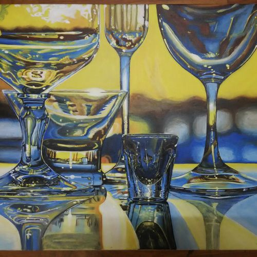 reflection of glasses, 18 x 16 inch, devashree ashara,photorealism paintings,paintings for dining room,paintings for living room,paintings for bedroom,paintings for office,paintings for hotel,paintings for kitchen,canvas,acrylic color,18x16inch,GAL043659916