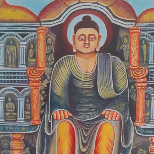 lord buddha, 12 x 17 inch, vanadev  athor,paintings,buddha paintings,paintings for living room,canvas,oil,12x17inch,religious,peace,meditation,meditating,gautam,goutam,buddha,face,moon,giving blessing,GAL043639918