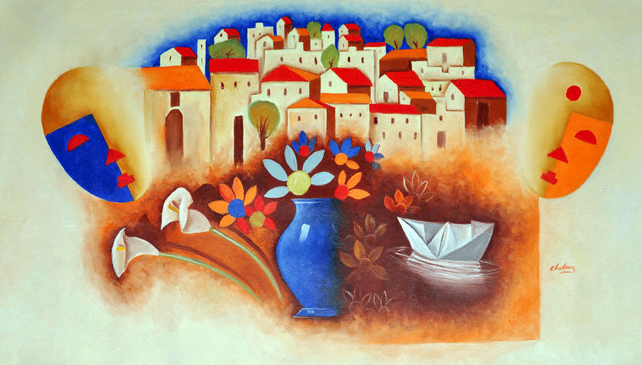 kagaj ki kasti, 35 x 24 inch, chetan katigar,conceptual paintings,paintings for living room,canvas,oil,35x24inch,GAL0266992
