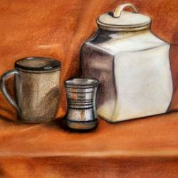 steel glass with coffee mug, 28 x 20 inch, devashree ashara,still life paintings,paintings for dining room,thick paper,pastel color,28x20inch,GAL043659926