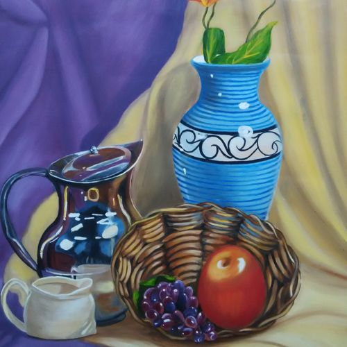 flower vase  with fruits, 21 x 28 inch, devashree ashara,still life paintings,paintings for dining room,thick paper,oil paint,21x28inch,GAL043659927