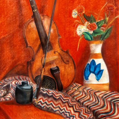 beauty of music , 22 x 28 inch, devashree ashara,still life paintings,paintings for living room,thick paper,pastel color,22x28inch,GAL043659928