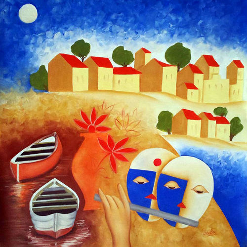 kasti, 24 x 24 inch, chetan katigar,conceptual paintings,paintings for living room,canvas,oil,24x24inch,GAL0266993